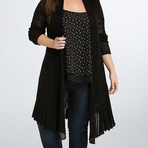 Torrid BLACK Mixed Stitch Fit Flare Cardigan 3X